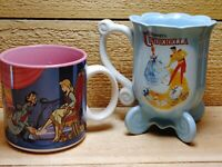 Walt Disney's Cinderella Collectible Mug Lot of 2 Store Parks Carriage Blue Pink