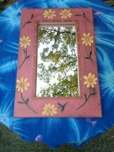 MIRROR, FUNKY, ART DECO, PINK WITH FLOWERS, GIRLS, WOMENS, GARDEN,...