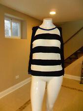 Forever 21 Women's Crew neck long sleeve sweater Black/White Striped Large NWOT