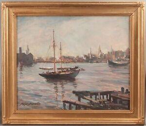 Large Antique MEYER MATZKIN Gloucester Fishing Boat Harbor Maritime Oil Painting