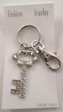Rhinestone Bling Skeleton Key Shaped Charm Key Chain Purse Fob #Uk094