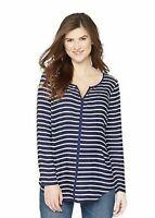 Oh Baby by Motherhood Womens Maternity Long Sleeve Top Blue Stripe Sz M NWT
