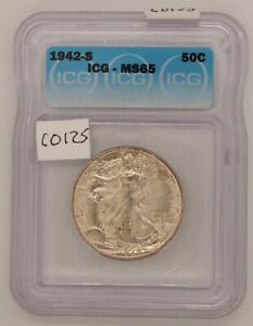 1942 S Liberty Walking, ICG MS 65, Silver, Fifty Cents, Certified, C125