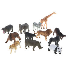 Lot 12pcs Plastic Zoo Animal Model Figure Kids Toys Tiger Lion Zebra Panda