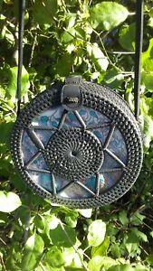 Ethnic bag  handwoven round rattan crosbody  straw  bali