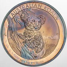 2015 AUSTRALIA KOALA 1 DOLLAR .999 SILVER PURPLE TONED GEM UNC BU COLOR (DR)