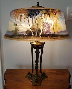 Beautiful Pairpoint Birch Tree Scene Reverse Painted Table Lamp - Handel Era