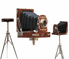 Vintage Wooden Camera Nautical Film Model Photography Floor standing tripod