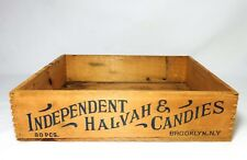 ANTIQUE INDEPENDENT HALVAH & CANDIES FINGER-JOINED WOOD BOX, BROOKLYN, NEW YORK