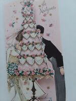 Vtg 50s Newlyweds BRIDE & GROOM Kiss Behind PINK Wedding CAKE GREETING CARD