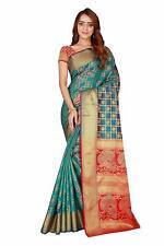 Green Kanjivaram Silk Patola Saree South Indian Dress Peacock Sari Fabric Crafts