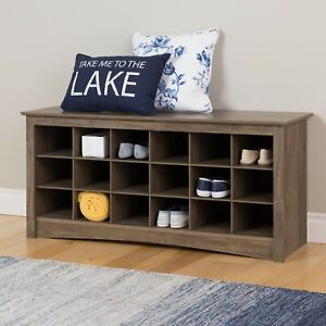18-Pair Entryway Shoe Storage Organizer Cubbie Bench, Drifted Gray FREE SHIPPING