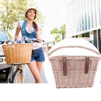 Retro Wicker Bicycle Bike Front Basket Handlebar Cargo Box Pet Shopping Camping