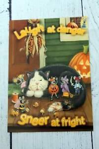 Halloween Greeting Card LAUGH AT DANGER SNEER AT FRIGHT Cat Pumpkin