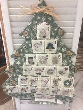 Country Christmas Tree Shaped Quilted Embroidered Look Advent Calendar New