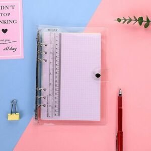 Transparent Loose Leaf Binder Notebook Ring Pvc Cover Diary Book Office School