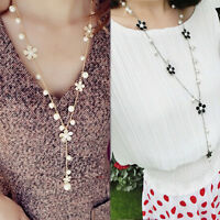 Women Flower Imitation Pearl Long Chain Sweater Necklace Charm Pendant Jewelry