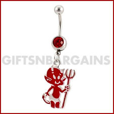 Little Devil Dangle Belly Ring Navel Piercing Jewellery Rhodium Plated 14G Gift