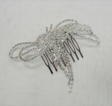Silver Rhinestone Crystal Bling Sparkle Hair Comb Wedding Prom Bridal Pageant
