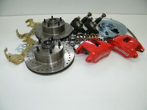 GM Front Disc Brake Conversion Kit Spindles Drilled & Slotted Rotors Wilwood