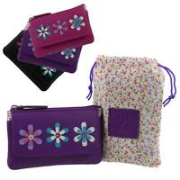 Ladies Leather Coin Purse by Mala; Millie Collection Handy Flowers