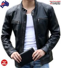 New Men Genuine Leather Biker Slim Fit Black Real Lambskin Motorcycle Jacket AU