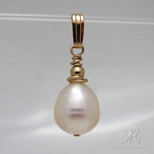 AAA Zucht Perle Tropfen weiß + Anhänger ygf 14k Gold 585