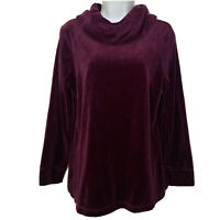 Womens D&CO Cowl Neck Tunic Sweater Long Sleeve Purple Velvet Top Vintage Small