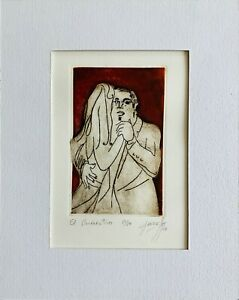 "Dora Garraffo - original etching ""El Maestro"" 2008 with COA"