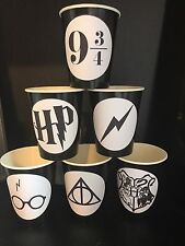 12 Harry Potter Wizard Birthday Party Paper Cups - BLACK