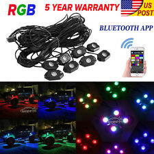 8x Mini Bluetooth RGB LED Rock Lights Multi-Function 4X4WD Offroad Vehicle Pods