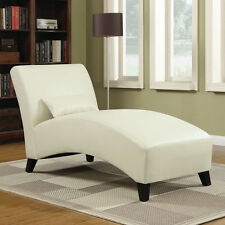 Cream White Curved Chaise Lounge Chair with Pillow Home Living Room Furniture