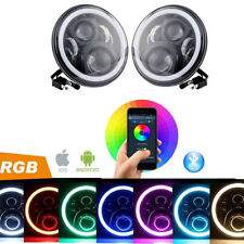 "7"" Round Multicolor RGB DRL Bluetooth Remote Control LED Headlights for jeep jk"