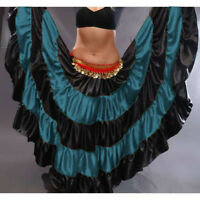 TEAL Satin Gypsy Skirt 5 Tier 32 Yard Belly Dance Tribal Costume Ethenic Jupe