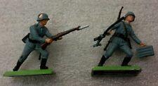2 NEW Vintage BRITAINS DEETAIL German Infantryman  on Metal Base #7350a