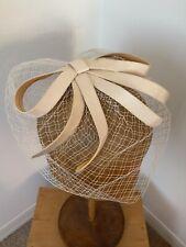 Vintage 1950's Cream Bow Fascinator Headpiece With Birdcage Netting