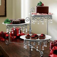 3 Tier Swivel Beaded Dessert Display Cake Stand Buffet Server Wedding Party Tray