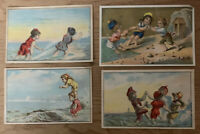 Lot Of 4 Victorian Paper Trade Cards Toddlers Ocean Beach scene