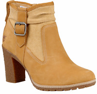Women's Timberland GLANCY MIXED-MEDIA SIDE-ZIP BOOT, Wheat A1GLL231 Size 9.5