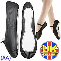 Black Leather Ballet Dance Shoes full suede sole elastics irish jig pumps (AA)