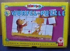 1994 JANOSCH KUNSTLER WURFEL 24 BLOCK PUZZLE 6 IN ONE BEAR FOX TIGER GERMANY