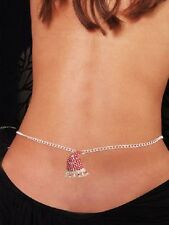 Sexy Women's Red Santa Hat Rhinestone Belly Chain Christmas Jewellery