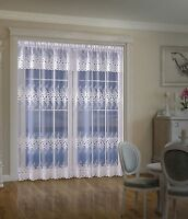 BEAUTIFUL FLORAL WHITE READY MADE NET CURTAIN PANEL WINDOWS  DOORS WITH VALANCE