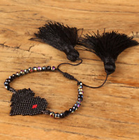 MIYUKI Heart Bracelet Black Crystal Seed Beads Bracelets Long Tassel Jewelry