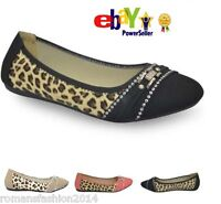 NeW Womens Ballerina Ballet Dolly Pumps Ladies Flat Cheetah Shoes In UK Size 3-8