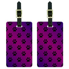 Paw Prints on Parade Purple Luggage Suitcase Carry-On ID Tags Set of 2