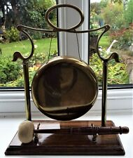 More details for vintage small brass dinner gong on oak stand