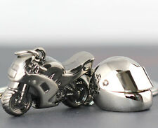 1pcs Creative Gift Silver Motorcycle Bicycle Helmet Keychain Keyring KeyFob Cool