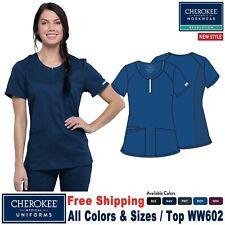 Cherokee Scrub Revolution Women's Two Patch Pockets Round Neck Top Ww602
