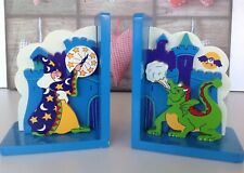 Childrens Wooden Book Ends Decorative 3D Wizard And Dragon Hand Painted
